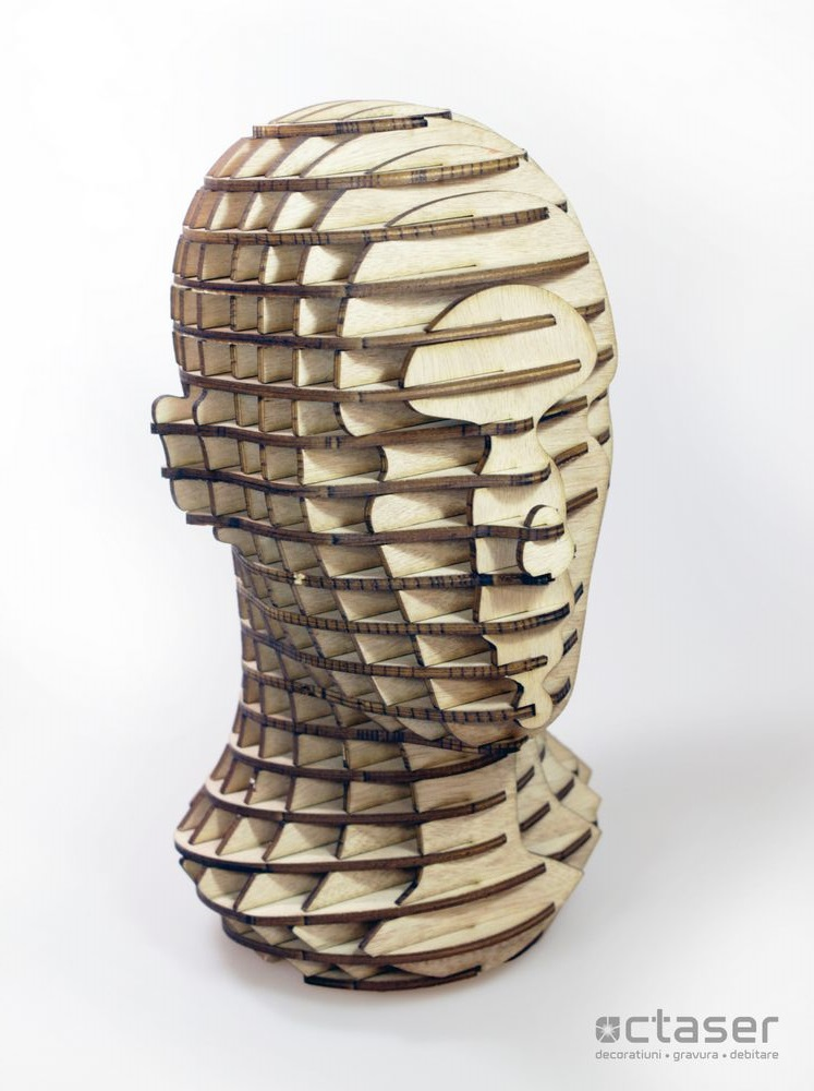 cap de om 3D imbinari de placaje debitare laser