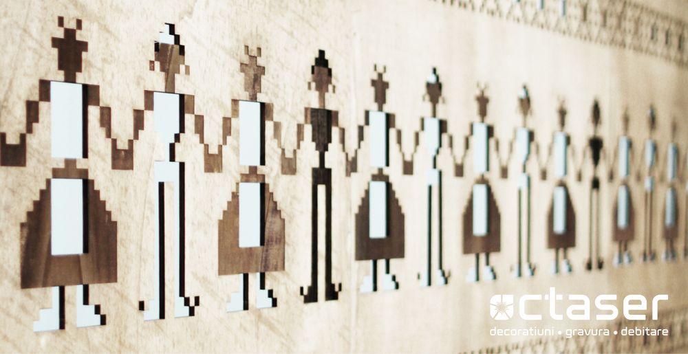 paravan ornamental separator zona costume populare romanesti placaj
